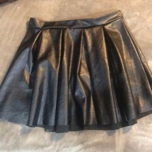 Black leather circle skirt